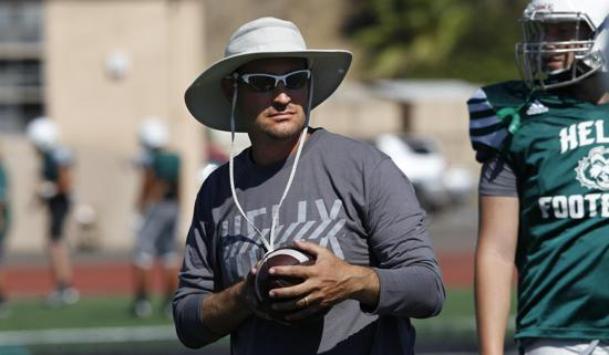 LA MESA, CALIFORNIA, USA -- AUGUST 10, 2016:   Helix High School head coach Robbie Owens on the field with his team during team practice.  Mandatory Credit: PHOTO BY NELVIN C. CEPEDA, SAN DIEGO UNION-TRIBUNE