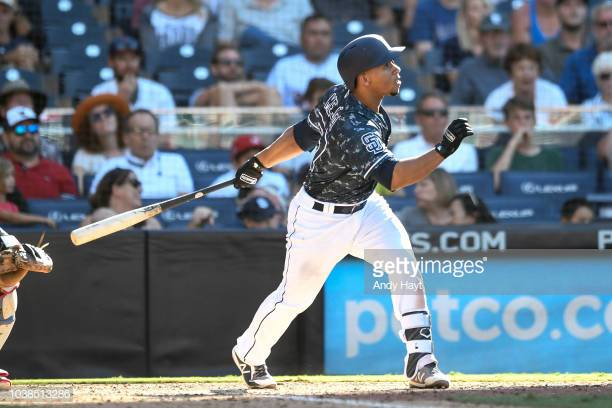SAN DIEGO, CA - SEPTEMBER 16: Francisco Mejia #27 of the San Diego Padres hits a walk off grand slam in the ninth inning during game against the Texas Rangers at PETCO Park on September 16, 2018 in San Diego, California. (Photo by Andy Hayt/Getty Images)