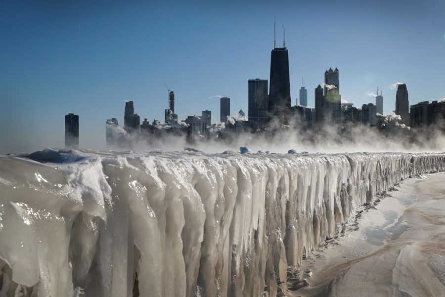 CHICAGO, ILLINOIS - JANUARY 30: Ice covers the Lake Michigan shoreline on January 30, 2019 in Chicago, Illinois. Businesses and schools have closed, Amtrak has suspended service into the city, more than a thousand flights have been cancelled and mail delivery has been suspended as the city copes with record-setting low temperatures.  (Photo by Scott Olson/Getty Images)