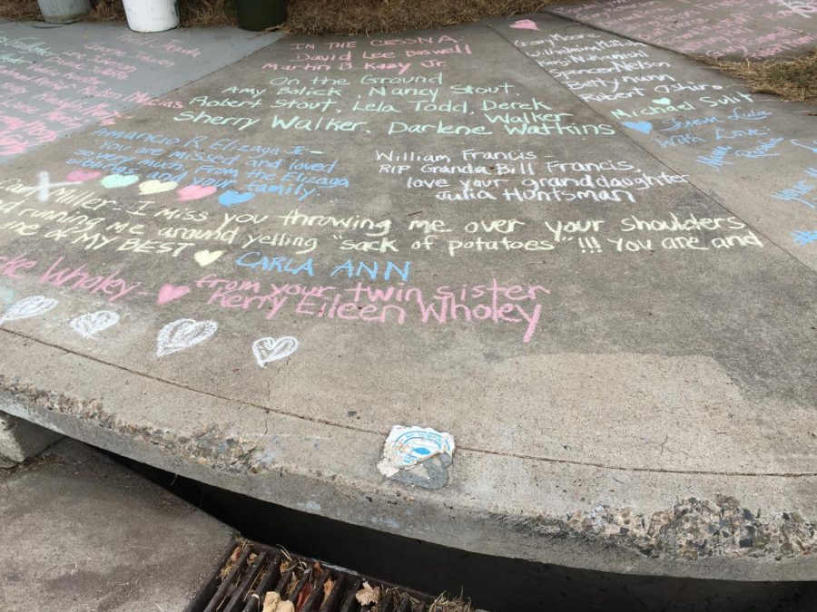 Names of the 144 victims written in chalk on the 42nd anniversary of the crash on September 25, 2020. [Photo credit: Kim Whittemore]