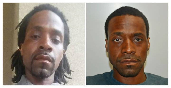These two photographs released April 18, 2017 by the Fresno Police Department show shooting suspect Kori Ali Muhammad, 39, who authorites say went on a shooting spree in the central California city of Fresno on Tuesday, April 18, 2017, killing three people and injuring another before being arrested, authorities said. Fresno police chief Jerry Dyer told reporters that the suspect, an African-American named Kori Ali Muhammad, shouted